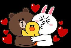 Love Cony Brown, Brown Bear, Sweet Love Quotes, Love Is Sweet, Bear Gif, Line Game, L Love You, Line Friends, Line Sticker