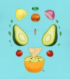 Avocado Mandala Illustration Sarah Wright 2016