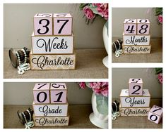 Perfect Baby Shower Gift and Keepsake Rainbow Wooden Milestone Age Blocks Baby Age Photo Blocks Weekly, Monthly,Yearly and Now with Grade