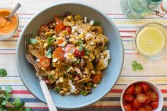 Bow tie pasta salad with black beans, corn, and queso fresco