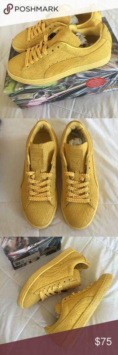 Puma Suede Classic Woven Shoes Solange X Puma Collab. Excellent condition, worn twice. Comes w/original box/ packaging. Color: snapdragon- team gold. Puma Shoes Sneakers