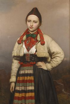 "Joseph van Lerius: Young Girl from Rattvik in Dalarna, 1862.    Dalarna, ""The Dales,"" is a region in Sweden with a rich and unique folk culture, with distinct music, paintings, and handicrafts. The Dalkarlar used a version of the old runic alphabet well into the 19th century."