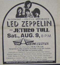 Led Zeppelin Jethro Tull 1969 Anaheim Concert Poster Type Ad