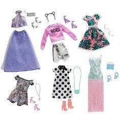 "Barbie Pink Passport Fashion Doll Outfits - 10 Pack - Mattel - Toys ""R"" Us Mattel Barbie, Barbie Dolls Diy, Barbie Fashionista Dolls, Diy Barbie Clothes, Barbie Dress, Barbie Stuff, Barbie Pink Passport, Look Fashion, Fashion Outfits"