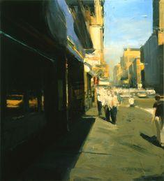Mirrored Street, 2000, oil on linen, 68x62in by Ben Aronson