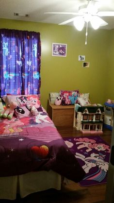 Decorating girl's bedroom usually uses a cute theme and a pleasant style. Little pony is a cute animal which often be used to represent a fairy tale story. There is some little pony theme film too. Purple Bedrooms, Bedroom Red, Girls Bedroom, My Little Pony Bedroom, Little Girl Rooms, Gold Bedroom Decor, Bedroom Themes, Bedroom Ideas, Room Color Schemes