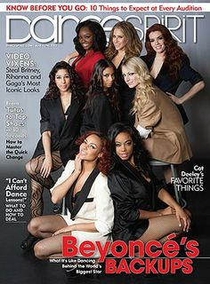 Beyoncé's backup dancers on the May/June 2013 cover (photo by Erin Baiano)