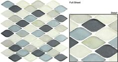 NEW!  This amazing crisp and clear glass mosaic has beautiful water textured waves all in a unique and inviting shape.  GLZ Aqua GS