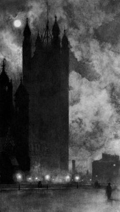 """William Hyde """"Victoria Tower, Westminster"""" 1898"""