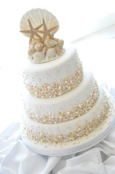 neutral beach wedding cake… Wedding ideas for brides grooms parents planners … itunes.apple.com/… plus how to organise an entire wedding The Gold Wedding PlannerSource From neutral beach wedding cake...