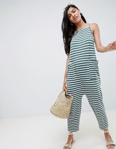 7e1d848aeab DESIGN jersey minimal jumpsuit with ties in stripe