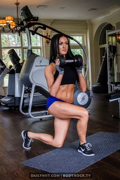 Lower Body Workout: Squats & Lunges with weights.