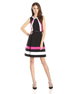 Calvin Klein Women's Sleeveless Color Block Fit and Flare Dress, Black Combo, 4