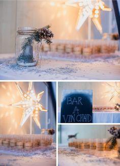 Déco et fleurs by FéeLicité Photos: Raphael Melka bar à vin chaud Mariage hivernal au Millenium à Weitbruch