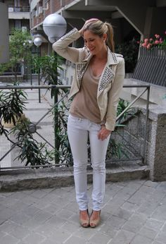 studded Motorcycle Jacket, fashion ivory studded jackets, leather zip jackets #studded #Motorcycle #Jacket www.loveitsomuch.com