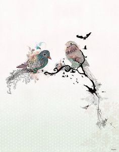 Collage und Mischtechnik Tiere malen Vögel Dekor von lizkapiloto