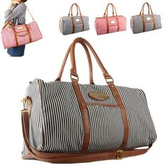 Womens Stripe Shoulder Travel Luggage Gym Bag Duffle Handbag weekender bag #Style2030 #ShoulderBag