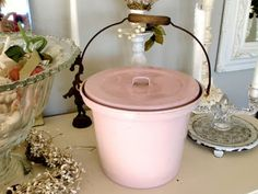 vintage french pink bucket