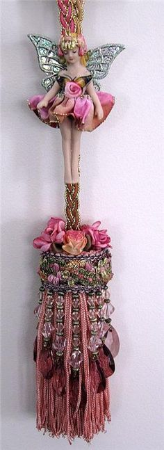 Another tassel, using thrift store find embellishments, beads, ribbon and fabric flowers