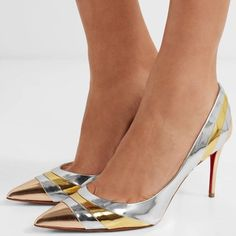 Christian Louboutin's 'Eklectica' pumps are paneled with curved stripes that highlight the contours of your foot in the most flattering way
