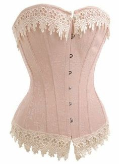 Sexy Victorian Cream Ivory Lace Trim Overbust Corset Bustier Tops G-string S-XXL