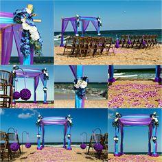 4 Post Bamboo Arbor. Malibu Blue and Purple Organza. Blue Dendro Orchids. Purple Kissing Ball Aisle. Sun and Sea Beach Weddings.
