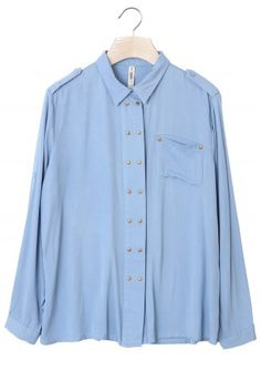 Stud Trim Single Pocket Blue Shirt