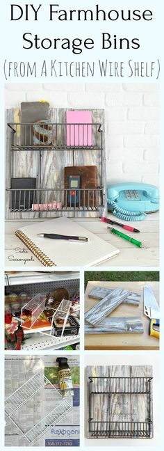 How to create modern farmhouse decor storage bins using reclaimed wood and a repurposed upcycled wire kitchen shelf rack from the thrift store by Sadie Seasongoods / www.sadieseasongoods.com
