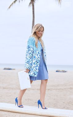 Blue Floral Coat