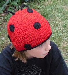 Crochet Ladybug BeanieAny Size by KayaLuCreations on Etsy, $18.95 CAD