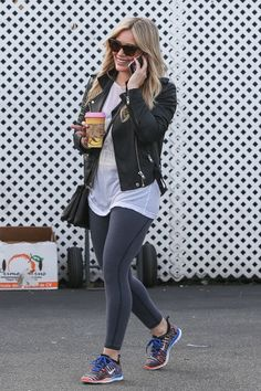 Hilary Duff out and about in a motto jacket and work out pants. Discover more Hilary style on full episodes of Younger  at http://www.tvland.com/shows/younger.