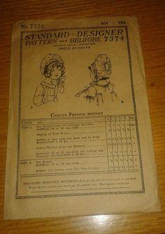 ANTIQUE 1919 BELROBE METHOD SEWING PATTERN 7374 CHILD'S FRENCH BONNET RARE!