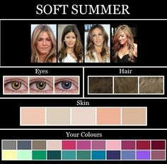 THE SKIN TONE SEASONS: SUMMER Grey, slate grey, charcoal, light desert sand, khaki, taupe, icy pink, rose, soft fuchsia, red-violet, raspberry, sea green, evergreen, emerald green, aqua, light aqua, true aqua, lavender, dusty purple, warm dusty purple, periwinkle, navy.