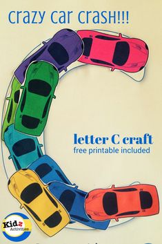 letter C craft: crazy car crash with free printable included