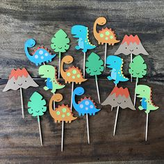 These cupcake picks would make a great addition to your party. Also can be used for donuts, cheese cubes and other appetizers. QUANTITY: ● 12 cupcake picks, They are one sided COLORS: ● Come as shown in photos, custom colors available message me! SIZE: ● Dinosaur die cuts measure