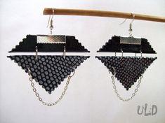 Black Leather earrings,Geometric earrings,Triangle earrings,Leather handmade jewelry