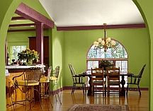 Red Complementary Color Scheme the red and green together make the room defined as a