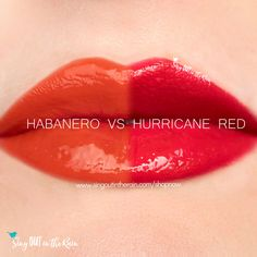 Compare Habanero vs. Hurricane Red LipSense using this photo. Habanero is part of the Fiesta LipSense Collection by SeneGence.