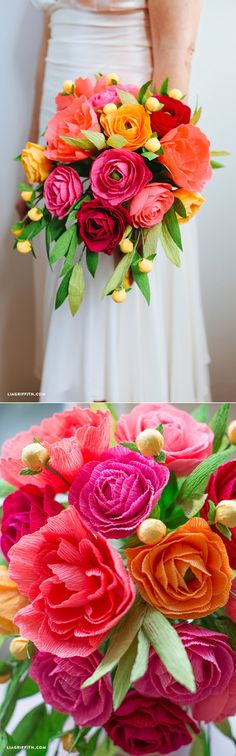 Crepe Paper Neon Wedding Bouquet