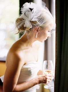 Something Borrowed - This stunning birdcage veil / by hautebride.com,   Photography by coopercarras.com