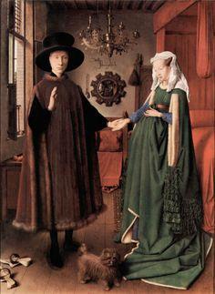 "Jan van Eyck ""The Arnolfini Wedding"", 1434 Jan Van Eyck, Renaissance Paintings, Renaissance Art, Rembrandt, Arnolfini Portrait, Famous Artwork, Painting People, Hieronymus Bosch, Land Art"