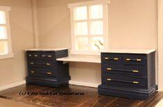 Kitty and Kat Miniatures: 1:12 Dresser And Desk Combo DIY Tutorial