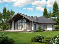 projekt Lemko Termo House Plans Mansion, Dream House Plans, House Floor Plans, Architectural Design House Plans, Architecture Design, Small Cottage Homes, Beautiful House Plans, Bungalow House Design, Steel House