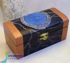 STARGATE Box- wooden chest detailed 3-d Stargate and event horizon- get your name on it