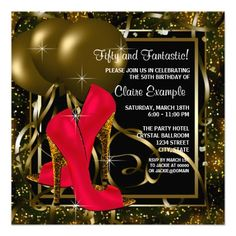 Red Black Gold High Heels Womans Birthday Party Invitation
