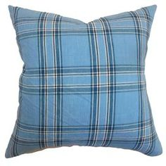 Refresh your home for summer with this must-have design.  Product: PillowConstruction Material: Cotton cover and 95/5 down fillColor: BlueFeatures:  Insert includedHidden zipper closureMade in the USA Dimensions: 18 x 18Cleaning and Care: Spot clean