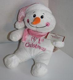 "Dan Dee Stuffed Animal My 1st Christmas Pink Snowman plush 8"" Soft Baby Toy 2014 #DanDee #Christmas #My1stChristmas #BabyGirl #PlushSnowman #Christmas2014 #SoftToy"