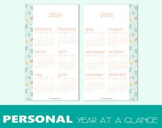 PERSONAL size 2016 year-in-view for di TheLittlePlannerShop