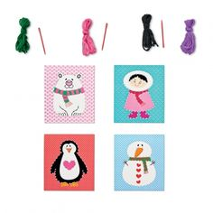 Sew a Christmas card - Sewing card kit with four cards: a polar bear, a little girl, a penguin and a snow- man. Including two plastic needles and four metres of yarn.