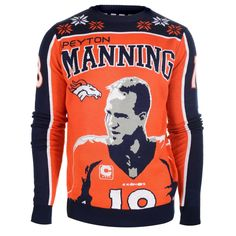 Denver Broncos Peyton Manning #18 2015 Player Ugly Sweater Size S-XXL w/ Priority Shipping